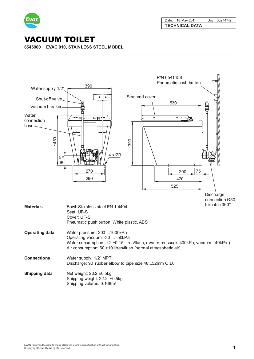 Evac Stainless Steel 910 Toilet Marinevac