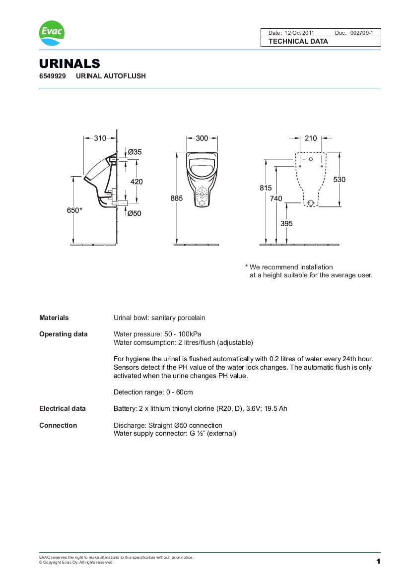 EVAC Autoflush Urinals