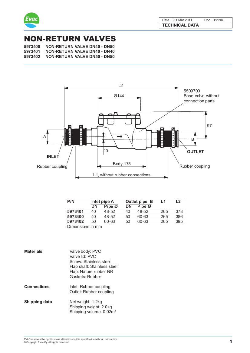 EVAC non return valve