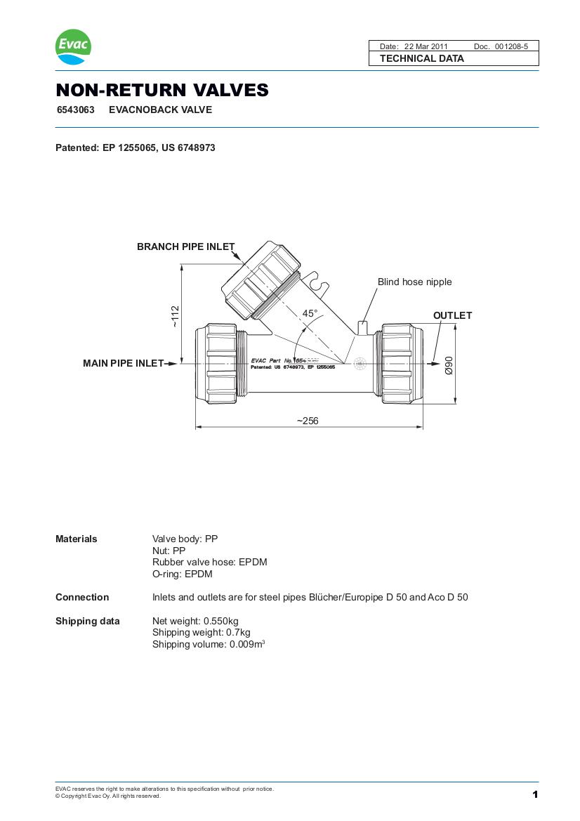 Evac non-return valve