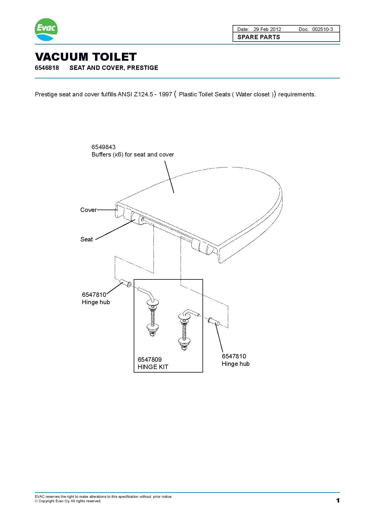 6546818 Evac Vacuum Toilet Seat and Cover - Prestige