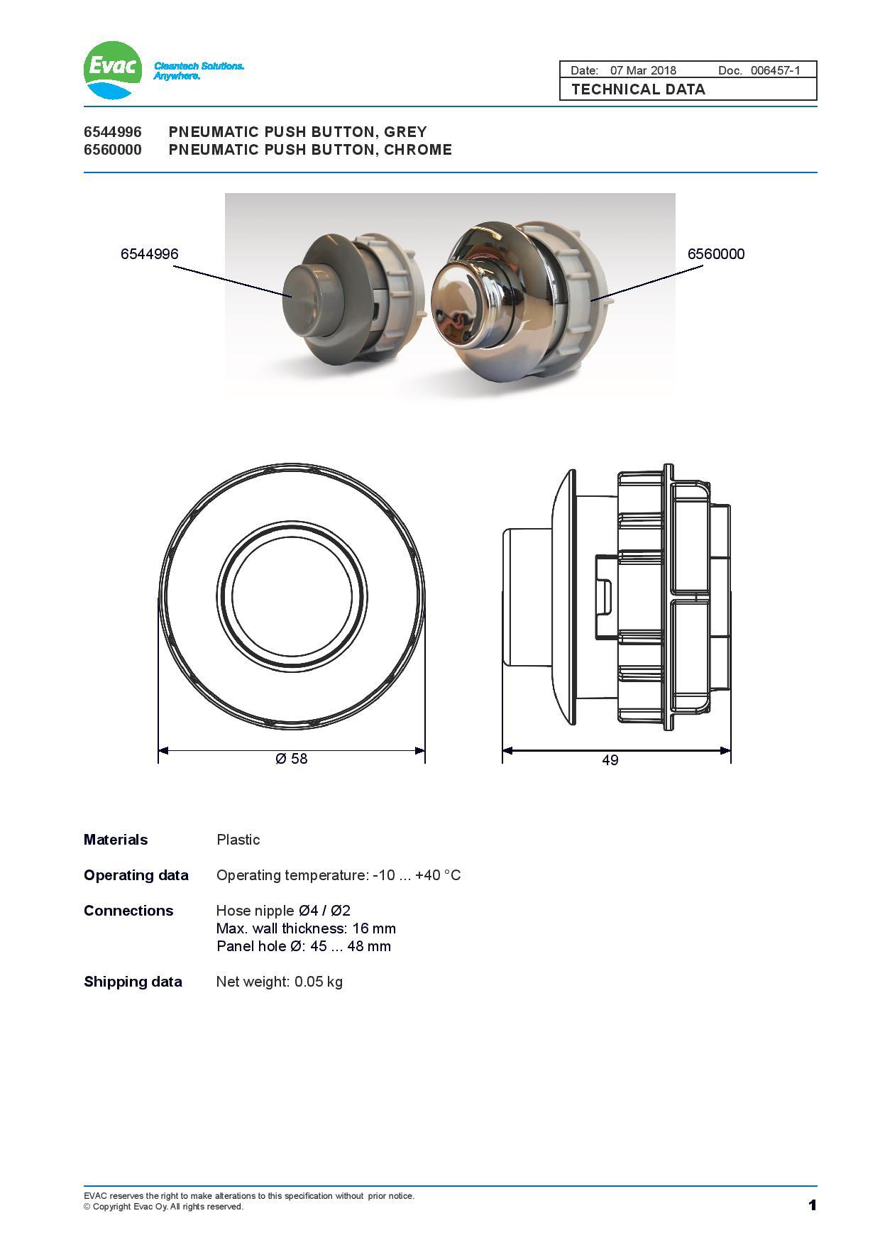 Evac Vacuum Toilet 6560000 and 6544996 Pneumatic Push Buttons